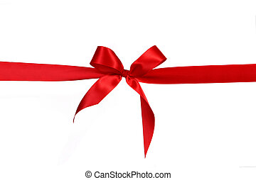 Red Gift Ribbon Bow in Horizontal Placement Over White...