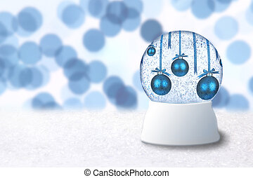 Christmas Snow Globe With Blue Holiday Bulbs on Abstract...