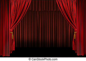 Horizontal Stage Drapes Open For Presentation. Insert Your...