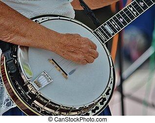 Un, músico, juego, banjo
