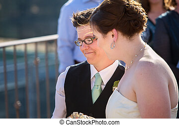 Happy Lesbian Couple - Happy young lesbian married couple...