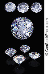 3d Round brilliant cut diamond perspective isolated on black...