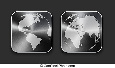 Globe and world map on brushed metal app icons. Vector...