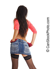 Sexy woman in jeans mini skirt and stockings - Sexy slim...