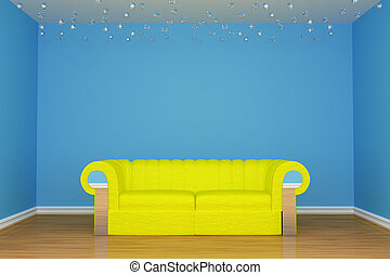 blue minimalist living room with yellow couch