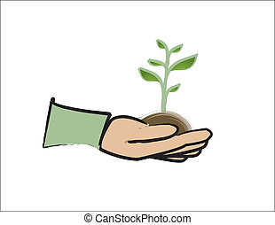 Green Thumb - simple design of a hand holding a green plant