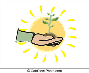 Green Thumb With Sun - simple design of a hand holding a...