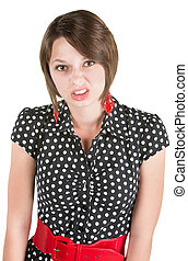 Offended Young Lady - Offended European woman in polka dot...