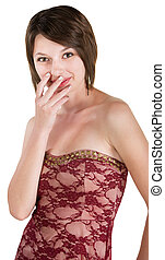 Embarrassed Woman in Red Dress