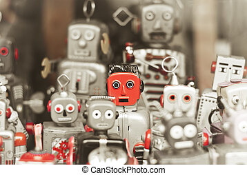 Single robot, standing out among the mass of robots