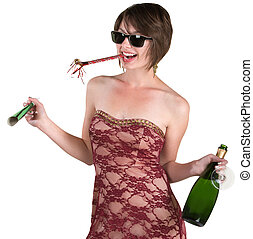 Drunk Partygoer - Drunk lady celebrating New Years over...