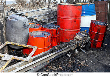 Petrol black market - Barrels and trailer for illegal fuel...