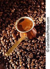 café, frijoles, olla, turco