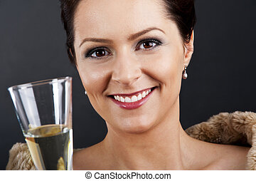 Woman with champagne flute