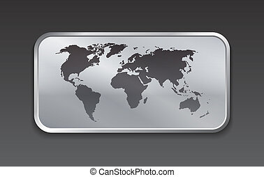 Globe and world map on brushed metal web elements. Vector...