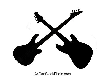 Instruments crossed - Silhouettes of electric guitar and...