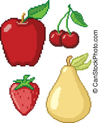 8-Bit Fruit Icons. These are four vector graphics of fruit...