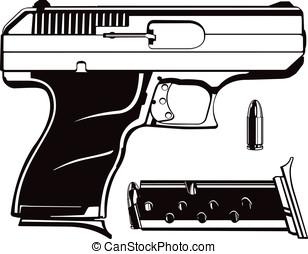 9mm Hand Gun - This is a vector graphic of a 9mm handgun...