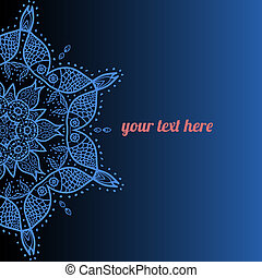 Vector ornate frame with sample text Azure - Blue Vector...