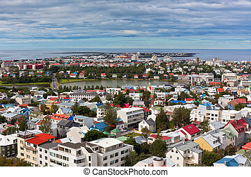 Capital of Iceland, Reykjavik, view from the Hallgrimskirkja...