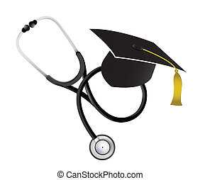 medicine education concept with a Stethoscope illustration...
