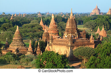 A group of Bagan pagodas in Myanmar
