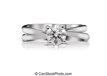 Solitaire diamond ring with a large faceted gem mounted on a...