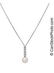 Beautiful pearl drop pendant with small faceted diamonds set...