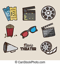 cine icons - Illustration of icon of cinema, 3D cinema...