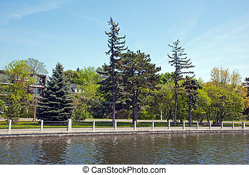 Rideau Canal - Travel by Rideau Canal by boat in spring time