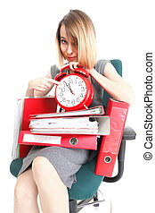 woman Overworked businesswoman holding plenty of documents...