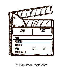cine icon - Illustration of cine icon, slate of director...