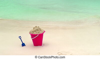 Childs Bucket and Shovel Sitting on Tropical Beach, Cancun,...