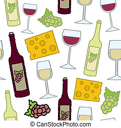 Seamless Wine and Cheese - A seamless pattern of red and...
