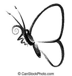 butterfly icon - crayon-sketched illustration of a butterfly...