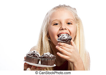 Girl biting a chocolate cake Isolated on white background