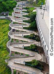 Chattanooga Walkway - The zig-zag walkway of riverfront,...