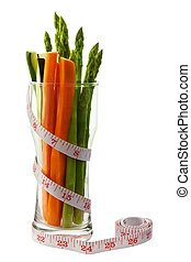 Low calorie vegetable in an hour glass shaped glass with...