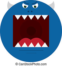 Monster Mouth Blue - Large round blue monster with sharp...