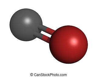 Carbon monoxide CO, molecular model - Carbon monoxide CO...