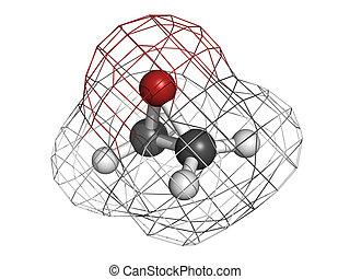 Ethylene oxide (oxirane), molecular model. Ethylene is the...