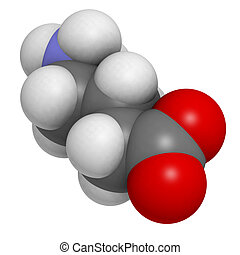 gamma-aminobutyric (GABA) neurotransmitter, molecular model....