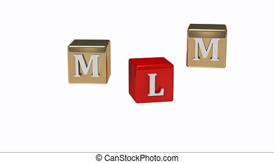 MLM inscription white letters on gold and red cubes rotating...