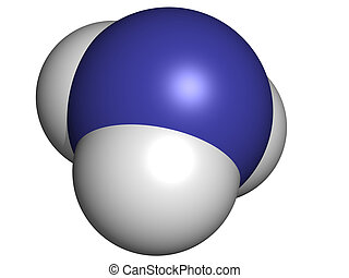 Ammonia NH3, molecular model Atoms are represented as...
