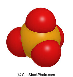 Phosphate, molecular model. Atoms are represented as spheres...