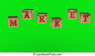 Green screen MARKET inscription red letters on the gold in...