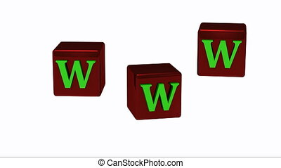 WWW inscription with bright green letters on copper red dice...