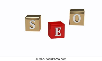 SEO inscription white letters on gold and red cubes rotating...