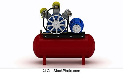 Running a portable compressor with rotating pulley and motor...