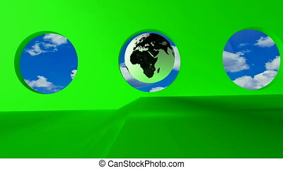 golden word Policy - Green screen. Black and white globe...